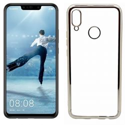 Funda de TPU con Borde Cromado Metalizado Plata - Huawei P Smart Plus