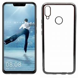 Funda de TPU con Borde Cromado Metalizado Negro - Huawei P Smart Plus
