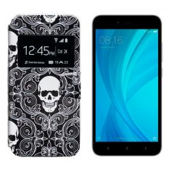 Funda libro Tapa y Ventana Xiaomi Redmi Note 5A Prime Dibujo Calavera