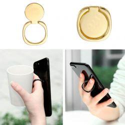 Soporte anillo metálico dorado trasero con agarre para móvil y tablet
