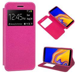 Funda libro con tapa, ventana y soporte - Samsung Galaxy J4 Plus Rosa