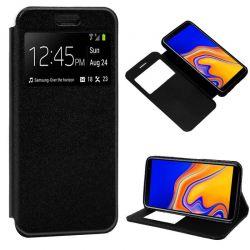 Funda libro con tapa, ventana y soporte - Samsung Galaxy J4 Plus Negro