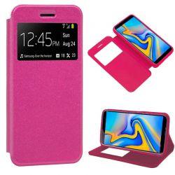 Funda libro con tapa, ventana y soporte - Samsung Galaxy J6 Plus Rosa