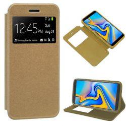 Funda libro con tapa, ventana y soporte Samsung Galaxy J6 Plus Dorada