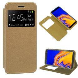 Funda libro con tapa, ventana y soporte Samsung Galaxy J4 Plus Dorada