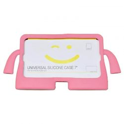 """Funda de silicona Universal Tablet 7"""" Rosa para niños con soporte"""