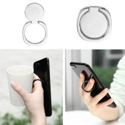 Soporte anillo metálico plata trasero con agarre para móvil y tablet