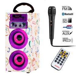 Altavoz Bluetooth Karaoke Lila JKX 6W, Radio y MP3, Voz en Español