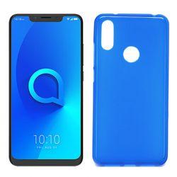 Funda silicona azul Alcatel 5v, trasera semitransparente y mate