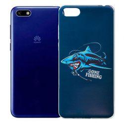 Funda de Silicona con Dibujo de Tiburón para Huawei Y5 2018