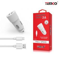 Cargador de Coche 2A doble usb y cable micro usb para móvil y tablet