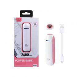 Power Bank PB105 - Bateria Externa Rosa de 2600 mAh y 1A para móvil