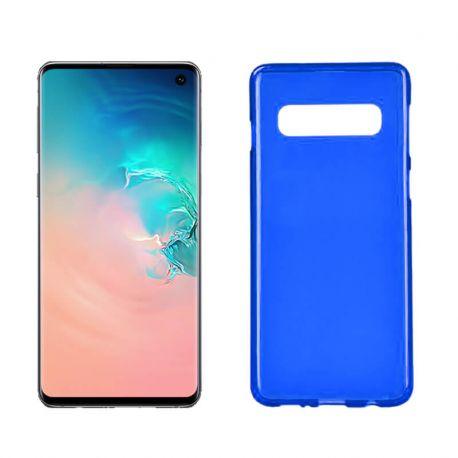 Funda silicona Samsung Galaxy S10 azul, trasera mate semitransparente