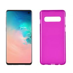 Funda silicona Samsung Galaxy S10 rosa, trasera mate semitransparente
