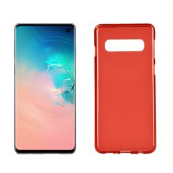 Funda silicona Samsung Galaxy S10 rojo, trasera mate semitransparente