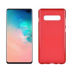 Funda silicona Samsung Galaxy S10 Plus rojo mate semitransparente