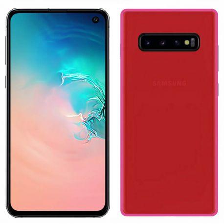 Funda silicona Samsung Galaxy S10E Rojo trasera mate semitransparente