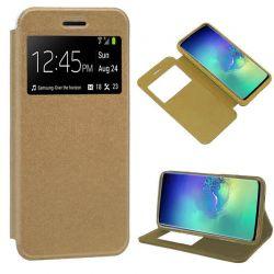 Funda libro con tapa, ventana y soporte Samsung Galaxy S10 Dorada