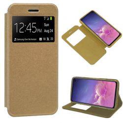 Funda libro con tapa, ventana y soporte Samsung Galaxy S10E Dorado