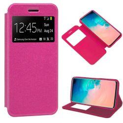 Funda libro con tapa, ventana y soporte Samsung Galaxy S10 Plus Rosa