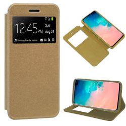 Funda libro con tapa, ventana y soporte Samsung Galaxy S10 Plus Dorado