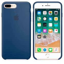 Funda de Silicona suave con logo para Apple iPhone 7 Plus / 8 Plus Azul