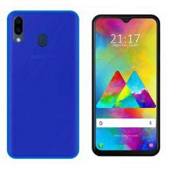 Funda silicona Samsung Galaxy M20 azul, trasera mate semitransparente