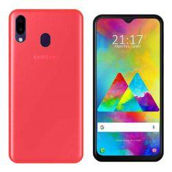 Funda silicona Samsung Galaxy M20 Rojo, trasera mate semitransparente