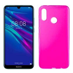 Funda silicona rosa Huawei Y6 2019, trasera semitransparente y mate
