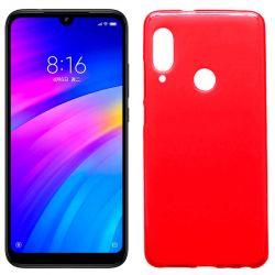 Funda silicona rojo Xiaomi Redmi 7, trasera semitransparente y mate