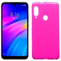 Funda silicona rosa Xiaomi Redmi 7, trasera semitransparente y mate