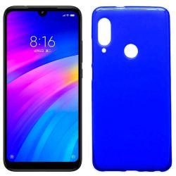 Funda silicona azul Xiaomi Redmi 7, trasera semitransparente y mate
