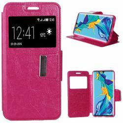 Funda de Libro con Tapa, Ventana y Soporte para Huawei P30 Pro Rosa