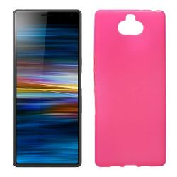 Funda silicona rosa Sony Xperia 10, trasera semitransparente y mate
