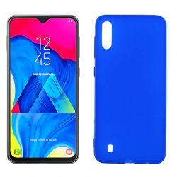 Funda silicona azul Samsung Galaxy M10, trasera semitransparente y mate