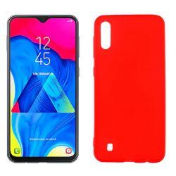 Funda silicona rojo Samsung Galaxy M10, trasera semitransparente y mate