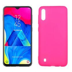 Funda silicona rosa Samsung Galaxy M10, trasera semitransparente y mate