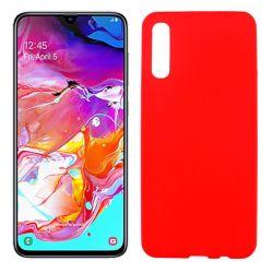 Funda silicona rojo Samsung Galaxy A70, trasera semitransparente y mate