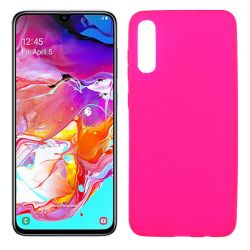 Funda silicona rosa Samsung Galaxy A70, trasera semitransparente y mate