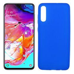 Funda silicona azul Samsung Galaxy A70, trasera semitransparente y mate
