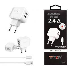 Cargador Carga Rápida Dos Usb y cable Tipo C 2.4A Móvil y Tablet