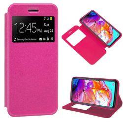 Funda libro con tapa, ventana y soporte - Samsung Galaxy A70 Rosa
