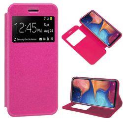 Funda libro con tapa, ventana y soporte Samsung Galaxy A20E Rosa