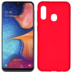 Funda silicona Samsung Galaxy A20E Rojo trasera mate semitransparente