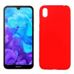 Funda silicona rojo Huawei Y5 2019, trasera mate semitransparente