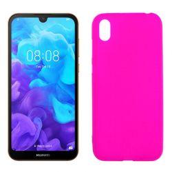 Funda silicona rosa Huawei Y5 2019, trasera mate semitransparente