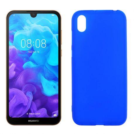 Funda silicona azul Huawei Y5 2019, trasera mate semitransparente