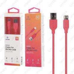 Cable Micro Usb Rojo 2.4A de Carga Rápida y 1 Metro para Móvil Tablet