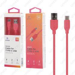 Cable Usb Tipo C Rojo 2.4A de Carga Rápida y 1 Metro para Móvil Tablet