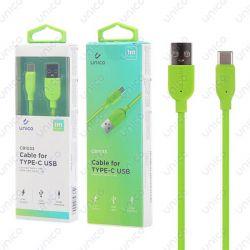 Cable Usb Tipo C Verde 2.4A de Carga Rápida y 1 Metro para Móvil Tablet